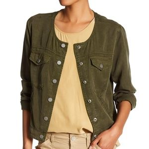 Sanctuary Snap Button Jacket Green Scoop Neck L